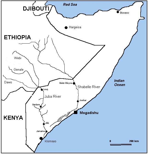 Map showing the Juba and Shabelle rivers